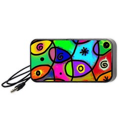 Digitally Painted Colourful Abstract Whimsical Shape Pattern Portable Speaker (black) by BangZart