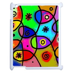 Digitally Painted Colourful Abstract Whimsical Shape Pattern Apple Ipad 2 Case (white) by BangZart