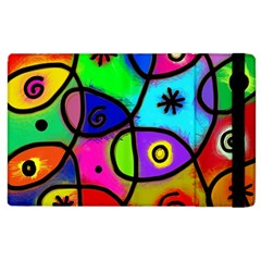 Digitally Painted Colourful Abstract Whimsical Shape Pattern Apple Ipad 2 Flip Case by BangZart