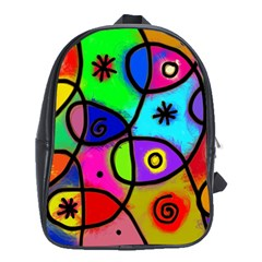 Digitally Painted Colourful Abstract Whimsical Shape Pattern School Bags (xl)  by BangZart