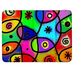 Digitally Painted Colourful Abstract Whimsical Shape Pattern Samsung Galaxy Tab 7  P1000 Flip Case by BangZart