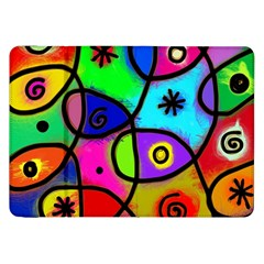 Digitally Painted Colourful Abstract Whimsical Shape Pattern Samsung Galaxy Tab 8.9  P7300 Flip Case