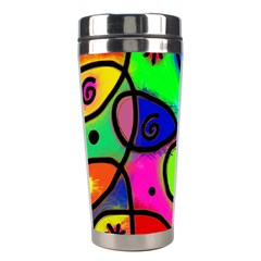 Digitally Painted Colourful Abstract Whimsical Shape Pattern Stainless Steel Travel Tumblers by BangZart