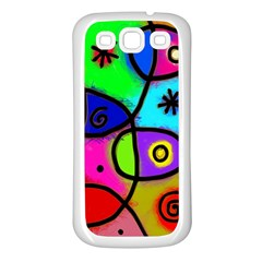 Digitally Painted Colourful Abstract Whimsical Shape Pattern Samsung Galaxy S3 Back Case (white) by BangZart