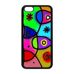 Digitally Painted Colourful Abstract Whimsical Shape Pattern Apple Iphone 5c Seamless Case (black) by BangZart