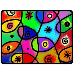 Digitally Painted Colourful Abstract Whimsical Shape Pattern Double Sided Fleece Blanket (large)  by BangZart