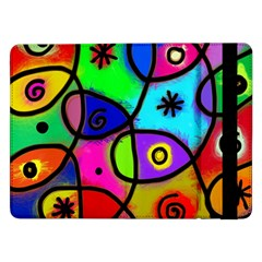 Digitally Painted Colourful Abstract Whimsical Shape Pattern Samsung Galaxy Tab Pro 12 2  Flip Case by BangZart