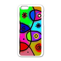 Digitally Painted Colourful Abstract Whimsical Shape Pattern Apple Iphone 6/6s White Enamel Case by BangZart