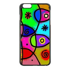 Digitally Painted Colourful Abstract Whimsical Shape Pattern Apple Iphone 6 Plus/6s Plus Black Enamel Case by BangZart