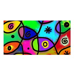 Digitally Painted Colourful Abstract Whimsical Shape Pattern Satin Shawl by BangZart