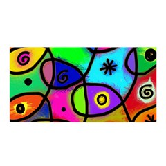 Digitally Painted Colourful Abstract Whimsical Shape Pattern Satin Wrap by BangZart