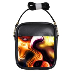 Colourful Abstract Background Design Girls Sling Bags by BangZart