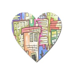 A Village Drawn In A Doodle Style Heart Magnet by BangZart