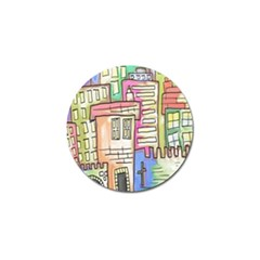 A Village Drawn In A Doodle Style Golf Ball Marker (10 Pack) by BangZart