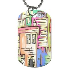 A Village Drawn In A Doodle Style Dog Tag (two Sides) by BangZart