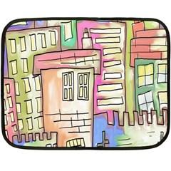 A Village Drawn In A Doodle Style Fleece Blanket (mini) by BangZart