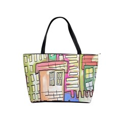 A Village Drawn In A Doodle Style Shoulder Handbags by BangZart