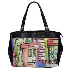 A Village Drawn In A Doodle Style Office Handbags by BangZart