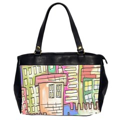 A Village Drawn In A Doodle Style Office Handbags (2 Sides)  by BangZart