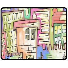 A Village Drawn In A Doodle Style Fleece Blanket (medium)  by BangZart