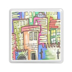 A Village Drawn In A Doodle Style Memory Card Reader (square)  by BangZart