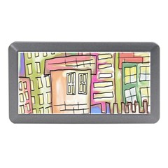 A Village Drawn In A Doodle Style Memory Card Reader (mini) by BangZart
