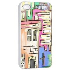 A Village Drawn In A Doodle Style Apple Iphone 4/4s Seamless Case (white) by BangZart