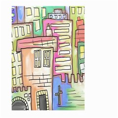 A Village Drawn In A Doodle Style Large Garden Flag (two Sides) by BangZart