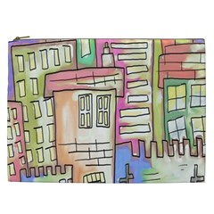 A Village Drawn In A Doodle Style Cosmetic Bag (xxl)  by BangZart