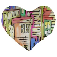 A Village Drawn In A Doodle Style Large 19  Premium Heart Shape Cushions by BangZart
