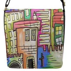 A Village Drawn In A Doodle Style Flap Messenger Bag (s) by BangZart