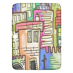 A Village Drawn In A Doodle Style Samsung Galaxy Tab 3 (10 1 ) P5200 Hardshell Case  by BangZart