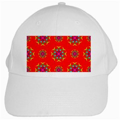 Rainbow Colors Geometric Circles Seamless Pattern On Red Background White Cap by BangZart