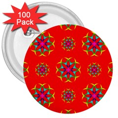 Rainbow Colors Geometric Circles Seamless Pattern On Red Background 3  Buttons (100 Pack)  by BangZart