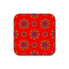 Rainbow Colors Geometric Circles Seamless Pattern On Red Background Rubber Coaster (square)  by BangZart
