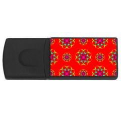 Rainbow Colors Geometric Circles Seamless Pattern On Red Background Usb Flash Drive Rectangular (4 Gb) by BangZart