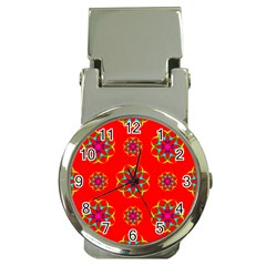 Rainbow Colors Geometric Circles Seamless Pattern On Red Background Money Clip Watches by BangZart
