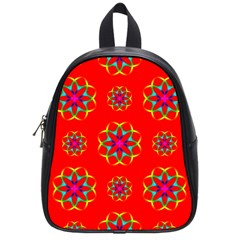 Rainbow Colors Geometric Circles Seamless Pattern On Red Background School Bags (small)  by BangZart