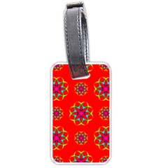 Rainbow Colors Geometric Circles Seamless Pattern On Red Background Luggage Tags (one Side)  by BangZart