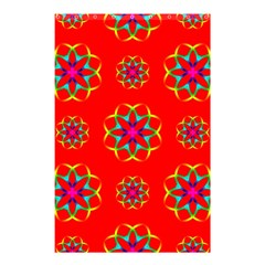 Rainbow Colors Geometric Circles Seamless Pattern On Red Background Shower Curtain 48  X 72  (small)  by BangZart