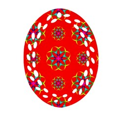 Rainbow Colors Geometric Circles Seamless Pattern On Red Background Oval Filigree Ornament (two Sides) by BangZart