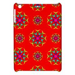 Rainbow Colors Geometric Circles Seamless Pattern On Red Background Apple Ipad Mini Hardshell Case by BangZart