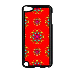 Rainbow Colors Geometric Circles Seamless Pattern On Red Background Apple Ipod Touch 5 Case (black) by BangZart