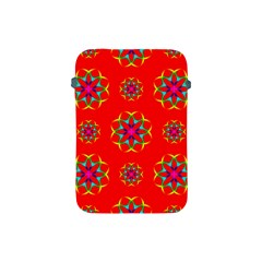 Rainbow Colors Geometric Circles Seamless Pattern On Red Background Apple Ipad Mini Protective Soft Cases by BangZart
