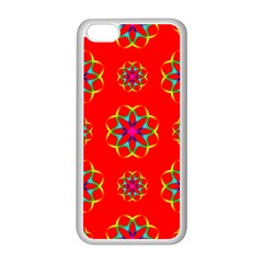 Rainbow Colors Geometric Circles Seamless Pattern On Red Background Apple Iphone 5c Seamless Case (white) by BangZart