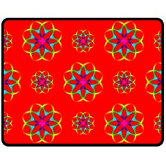 Rainbow Colors Geometric Circles Seamless Pattern On Red Background Double Sided Fleece Blanket (medium)  by BangZart