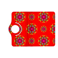 Rainbow Colors Geometric Circles Seamless Pattern On Red Background Kindle Fire Hd (2013) Flip 360 Case by BangZart