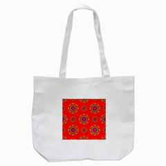 Rainbow Colors Geometric Circles Seamless Pattern On Red Background Tote Bag (white) by BangZart