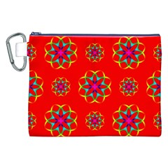 Rainbow Colors Geometric Circles Seamless Pattern On Red Background Canvas Cosmetic Bag (xxl) by BangZart