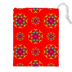 Rainbow Colors Geometric Circles Seamless Pattern On Red Background Drawstring Pouches (xxl) by BangZart